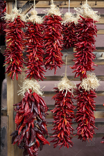Hot chili peppers drying in Santa Fe, New Mexico