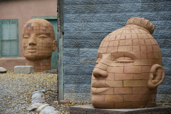 Santa Fe, New Mexico - November 17, 2017: Sculptures in Santa Fe's art district