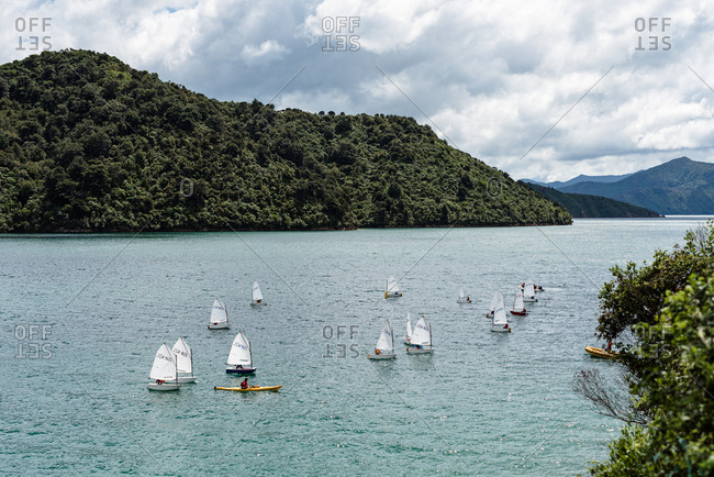 Picton, New Zealand - February 16, 2018: Sailboats in water at Queen Charlotte Sound