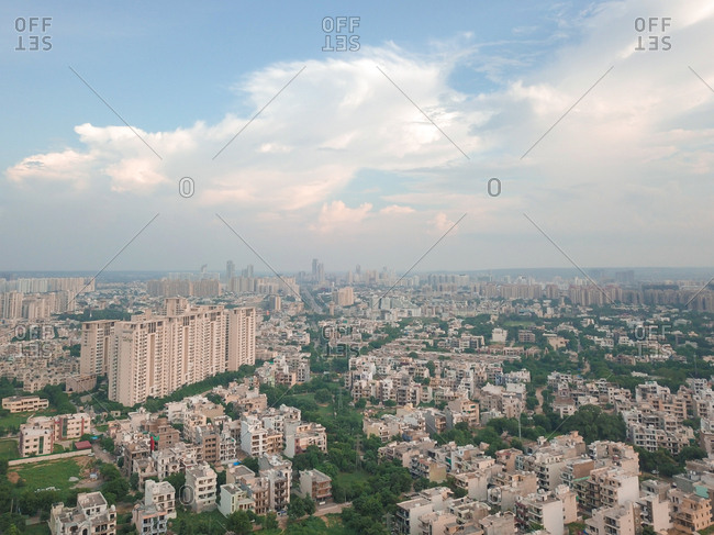 Aerial view of buildings in sector 34 gurgaon on a bright cloudy day, in delhi ncr, India.
