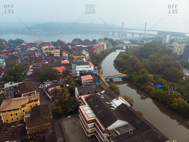 Aerial view of Altinho neighbourhood in old quarter Panjim in central Goa, India