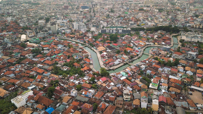 Aerial view of a neighbourhood in Palembang city of Sumatra island of Indonesia.
