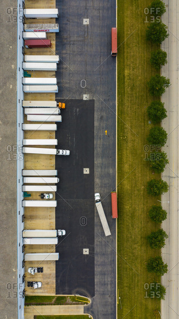 September 21, 2018: BOLLINGBROOK, IL, USASEPTEMBER 2018:  Aerial view of parked semi truck trailers at a distribution facility in Bollingbrook, IL, USA