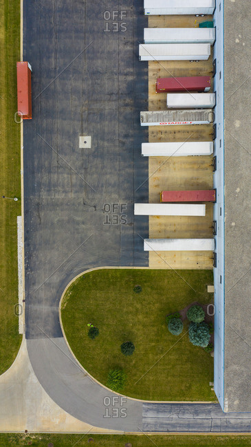 September 21, 2018: Aerial view of parked semi truck trailers at a distribution facility in Bollingbrook, IL, USA