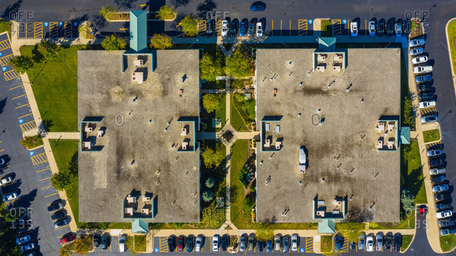 Aerial view of a low rise medical office building in the suburbs of Chicago, IL in the United States