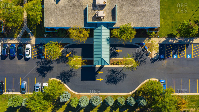 September 26, 2018: Aerial view of a low rise medical office building in the suburbs of Chicago, IL in the United States