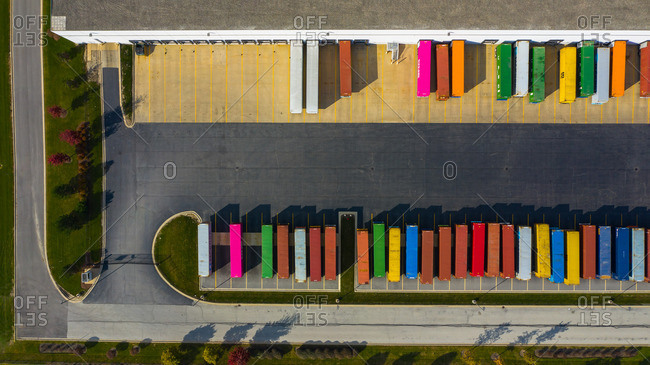October 27, 2018: Aerial view of parked semi truck trailers at a distribution facility in Bollingbrook, IL, USA