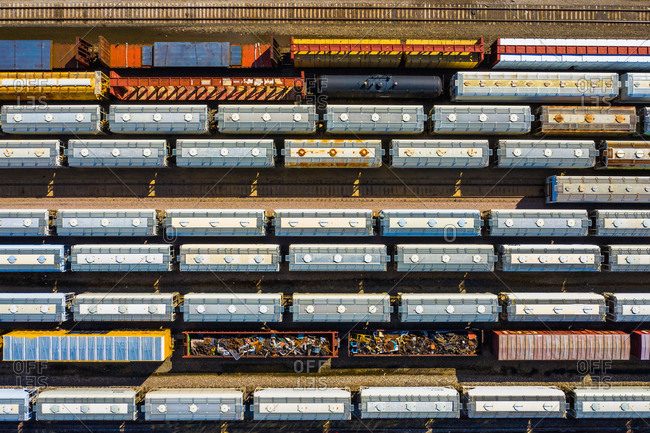 Aerial view of rail cars waiting at a staging railyard station in Aurora, ILUSA