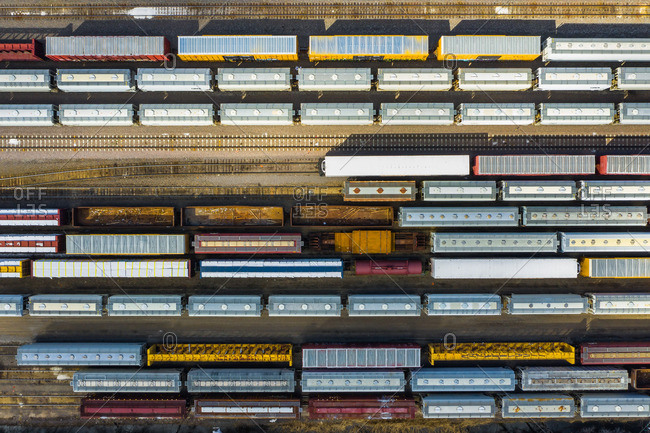 March 16, 2019: Aerial view of rail cars waiting at a staging railyard station in Aurora, ILUSA