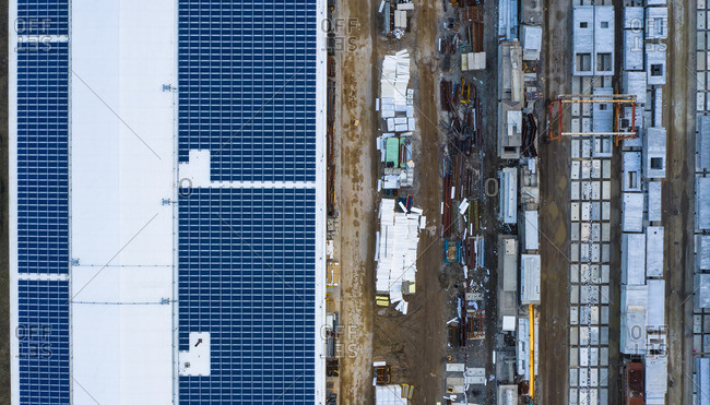 Aerial view of finished concrete slabs and related products at a concrete manufacturing facility in the afternoon sun in Aurora, IL, USA
