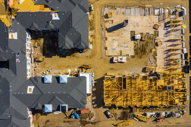 Aerial view of a residential apartments construction site in Naperville, IL, USA