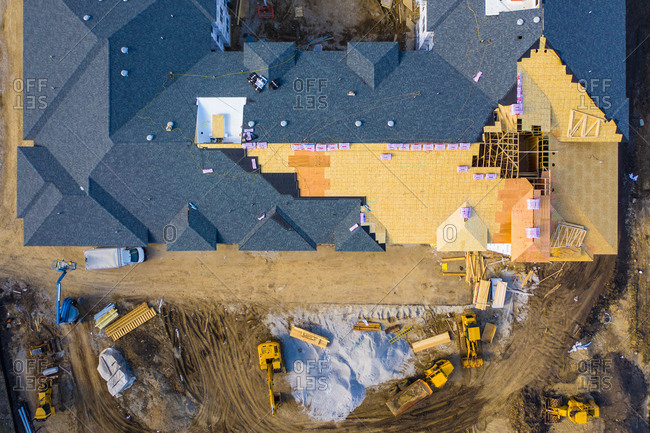 April 9, 2019: Aerial view of a residential apartments construction site in Naperville, IL, USA