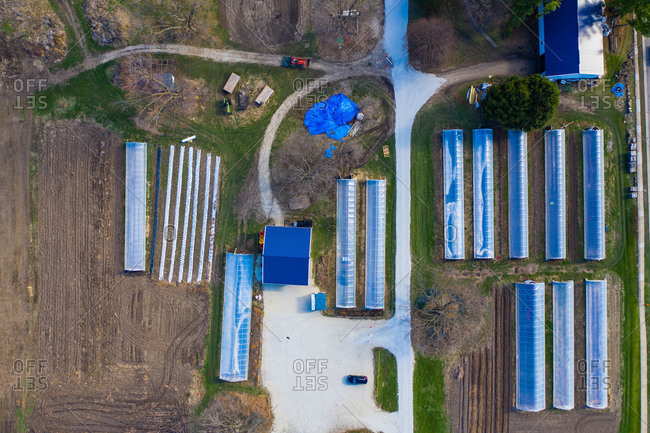 Aerial view of an organic and eco friendly agricultural farm in Naperville, ILUSA