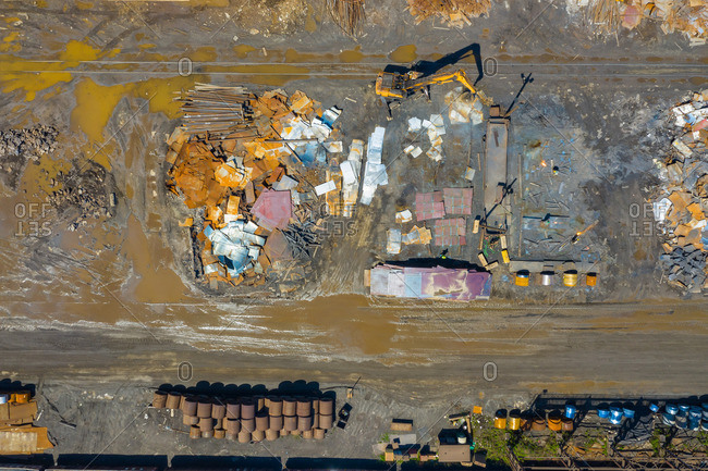 Aerial view of scrap metals and finished steel products at a modern steel producing facility on the shores of Lake Michigan in Indiana.