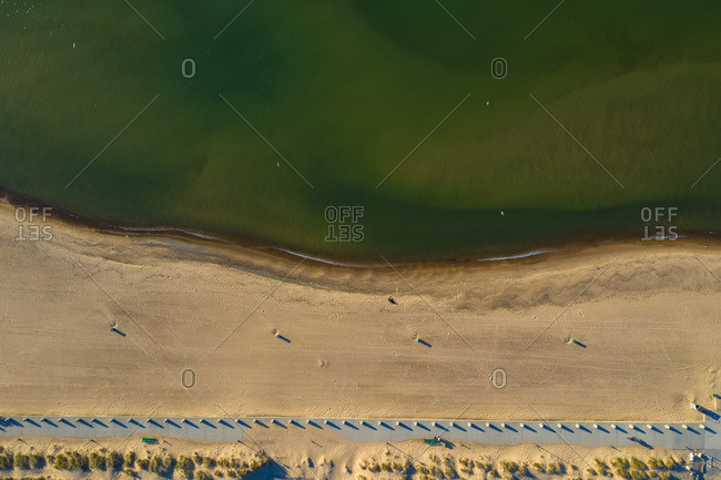 Aerial view of the beach and Lake Michigan shoreline at Indiana Dunes National Lakeshore in Indiana in the United States.