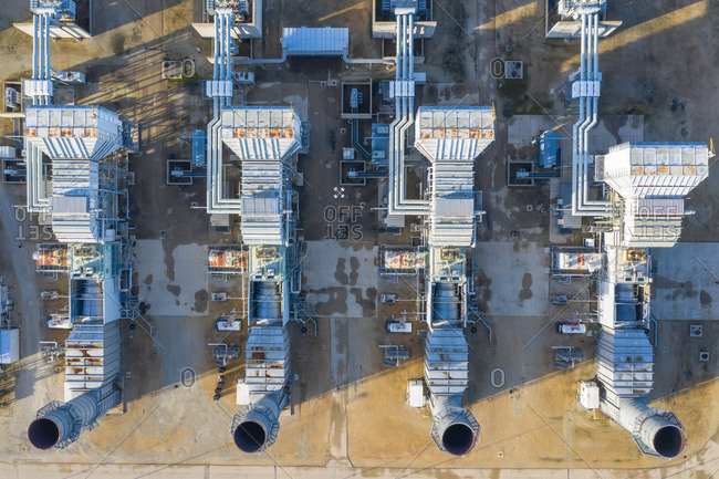 Aerial view of a clean power generation facility in Aurora, IL, United States