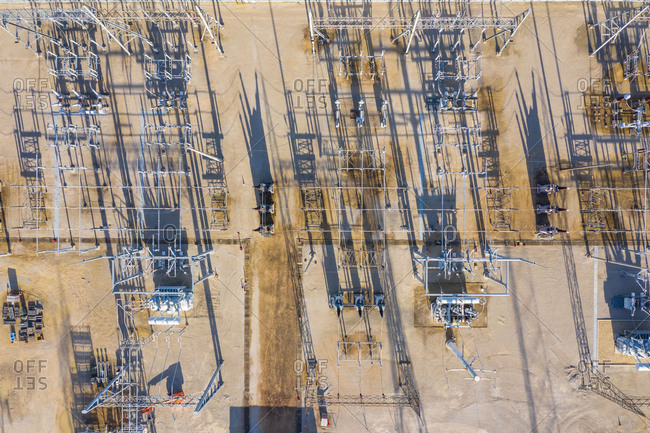 Aerial view of a high voltage electricity distribution facility in Aurora, IL, United States