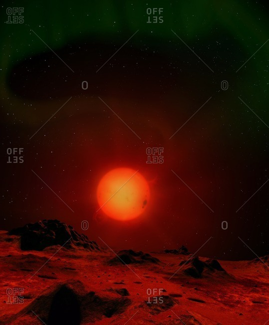 Illustration of a red dwarf star seen from the surface of an orbiting world. Red dwarfs are the most common stars in the universe. Like the Sun they are main-sequence stars, burning hydrogen, but substantially cooler, dimmer; redder and smaller. Proxima Centauri and Barnard's Star are well-known examples. This planet is depicted as having a magnetic field, which creates aurorae in its skies as on Earth.