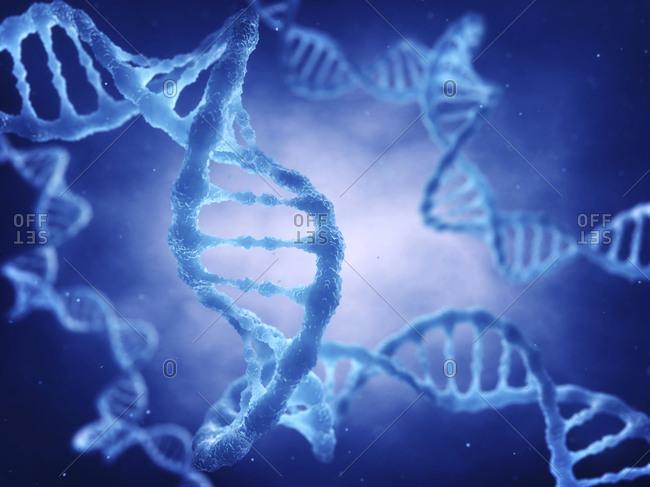 DNA (deoxyribonucleic acid) molecule, illustration.