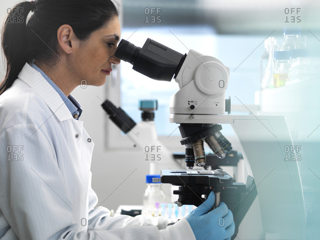 Biotech Research- Scientist examining samples under a microscope during a experiment