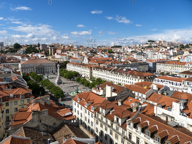 View over the city with Rossio Square and Dom Pedro IV monument- Lisbon- Portugal