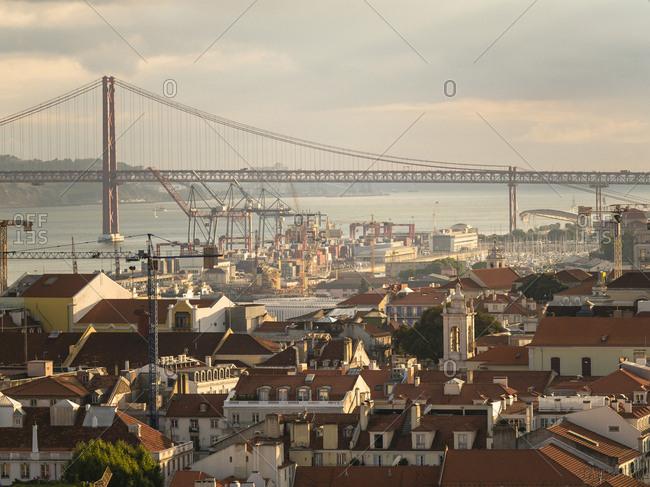 View over the city with Ponte 25 de Abril Tejo River from Miradouro da Nossa Senhora do Monte- Lisbon- Portugal