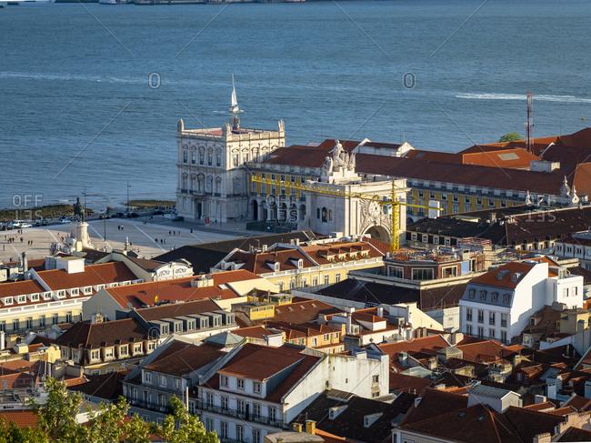 View over the city with Tejo River from Miradouro da Nossa Senhora do Monte- Lisbon- Portugal