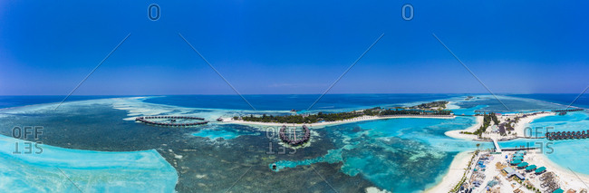 Aerial view over Olhuveli and Bodufinolhu with Fun Island Resort- South Male Atoll- Maldives