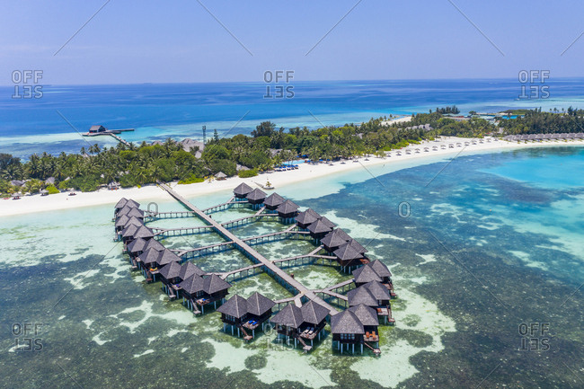 Aerial view over water bungalows at Olhuveli- South Male Atoll- Maldives