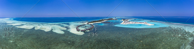 Aerial view over Olhuveli with water bungalow- South Male Atoll- Maldives