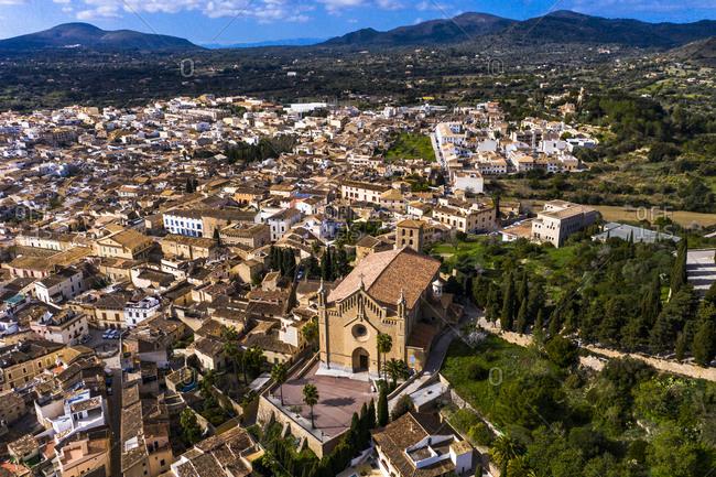 Townscape with parish church Transfiguracio del Senyor- Arta- Majorca- Spain