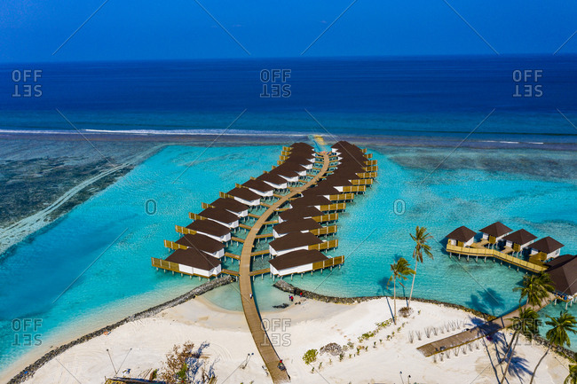 Aerial view of water bungalows- South Male Atoll- Maledives