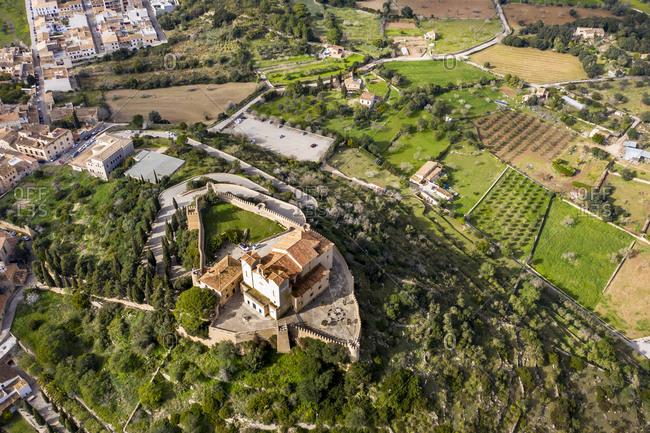 Aerial view of pigrimage church Santuari de Sant Salvador- Arta- Majorca- Spain