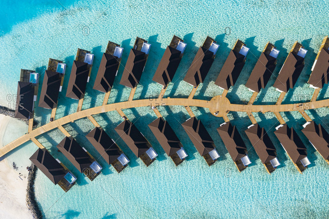 Water bungalows from above- South Male Atoll- Maledives