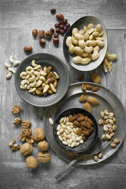 Peanuts- hazelnuts- cashew nuts- brazil nuts and almonds
