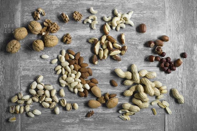 Peanuts- hazelnuts- cashew nuts- brazil nuts- pistachios and almonds