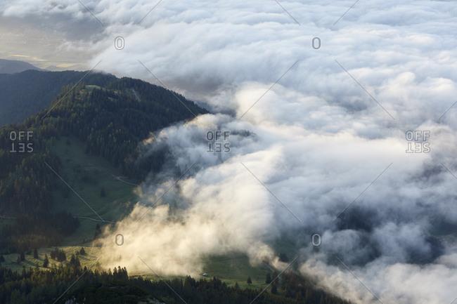 Austria- Tyrol- Innsbruck county- Gnadenwald- Hundskopf- View to Inn Valley at sunrise