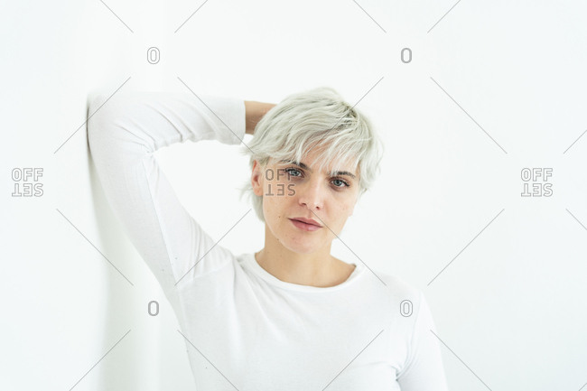 Portrait of woman with dyed hair