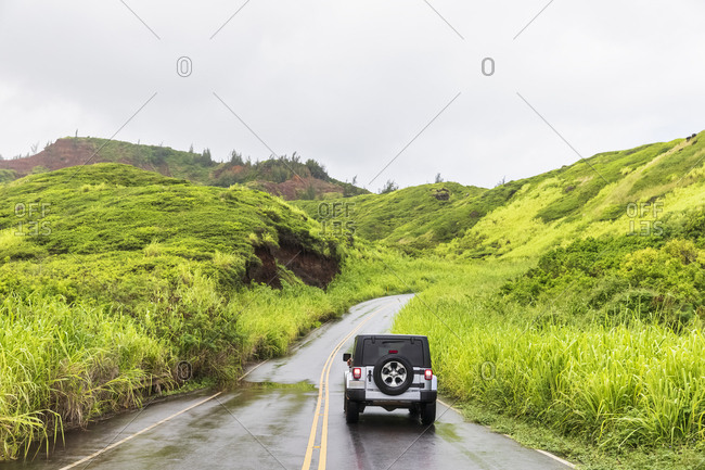 Off-road vehicle on Kahekili Highway- West Maui Mountains- Maui- Hawaii- USA