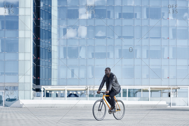 Man with bike in Barcelona