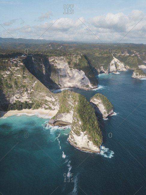 Aerial view of Kelingking Beach- Nusa Penida island- Bali- Indonesia