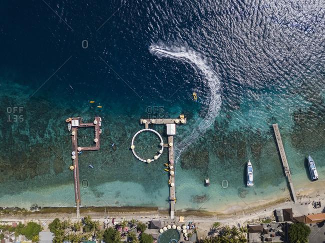 Aerial view of tourist attractions- Kutampi beach- Nusa Penida island- Bali-Indonesia