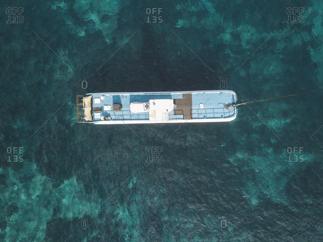 Aerial view of bathing ship- Nusa Penida island- Bali- Indonesia