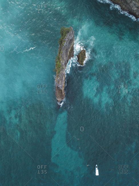 People snorkeling in ocean- Nusa Penida island- Bali- Indonesia