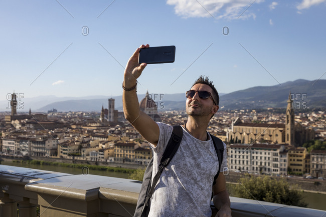 Man taking a selfie- Florence- Italy