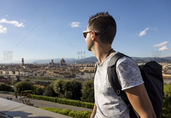 Man enjoying the view of Florence- Florence- Italy