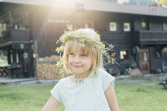 Little girl wearing flowers in her hair- Jochberg- Austria