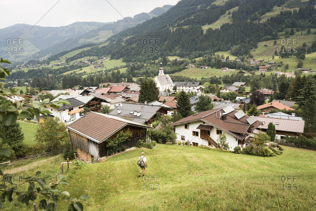 Man hiking into the valley- Jochberg- Austria