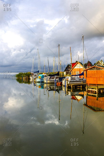 View to harbour with moored sailing boats- Ahrenshoop- Germany