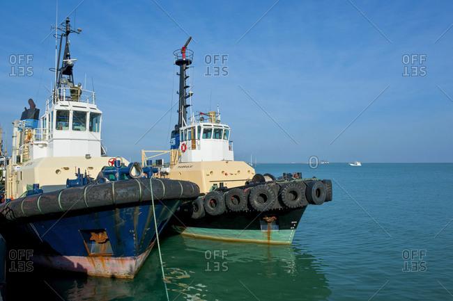 Two moored tugboats- Darwin- Northern Territory- Australia